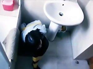 cute girl tied in bathroom