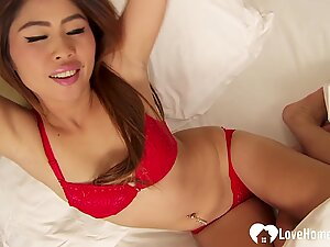 Amazing brunette Asian with a pretty pink pussy
