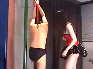 Ballbusting japanese old video the red dress