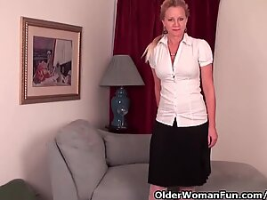 Mature doll With D-Cup globes Needs To Get Off In pantyhose