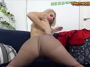 Sexy Mature Cougar Katrina In Pantyhose and Boots Showing Pussy and Ass