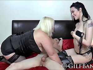 Teen and gilf get pounded by long cock in threeway